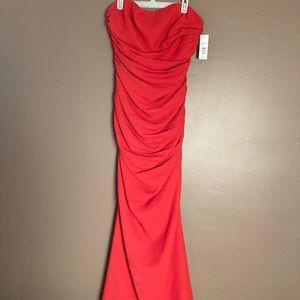 NWT Badgley Mischka strapless coral maxi dress